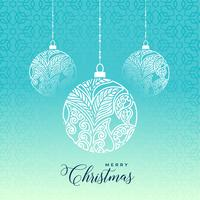 decorative merry christmas ball on blue background