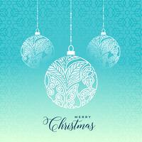 Bola de Navidad feliz decorativa sobre fondo azul
