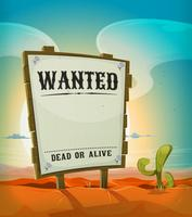 Summer Mexican Desert With Wanted Wood Sign vector