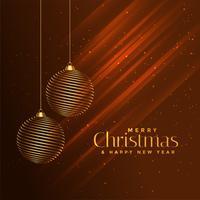 bolas de ouro feliz Natal em fundo marrom brilhante