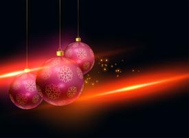 stylish christmas balls with light effect background