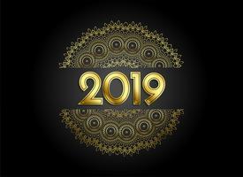 fundo decorativo de estilo de mandala dourada de prémio 2019