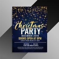 christmas party sparkles flyer template design