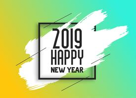 2019 happy new year background with ink brush stroke