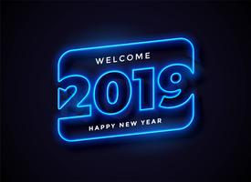 2019 in neon style background