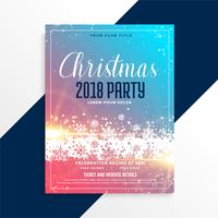 merry christmas party flyer template with shiny snowflakes