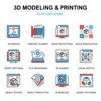 Conjunto de iconos de impresión y modelado 3D