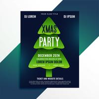 creative green christmas tree party flyer design
