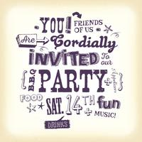 Vintage Party Invitation Poster With Hand Lettering