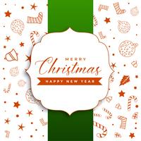 stylish merry christmas greeting with decorative elements