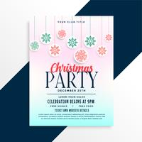 merry christmas party poster design with snowflakes balls