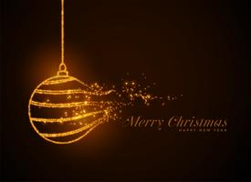 christmas ball made with golden sparkles particles background