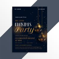 luxury dark christmas party flyer in gold theme