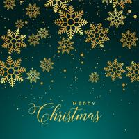 merry christmas background with golden snowflakes
