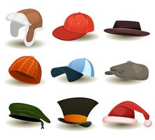 Caps, Top Hats And Other Headwear Set vector