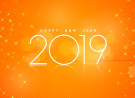 beautiful orange 2019 happy new year background