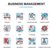 Flache Linie Management Icon Set