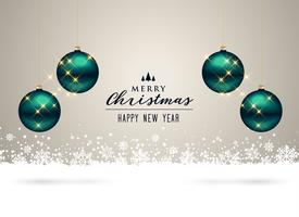 christmas background with balls and snowflakes decoration