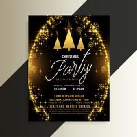design de modelo de panfleto de Natal brilhante de brilhos dourados