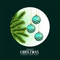 decorative merry christmas leaves and balls background