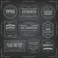 Vintage Labels Ans Signs On Blackboard