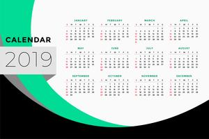 calendar template design for year 2019