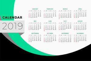 design de modelo de calendário para o ano de 2019