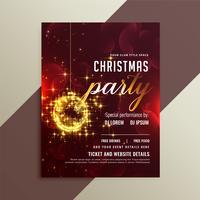 lindo modelo de panfleto de festa de Natal brilhante de brilhos dourados