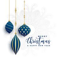 premium decorative christmas balls on white background