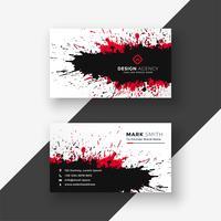 abstract ink splash red black business card design