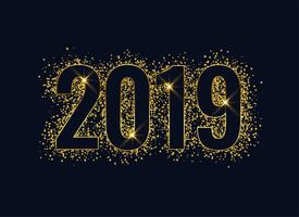 2019 glanzende glitter gouden nieuwe jaarachtergrond