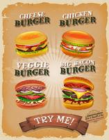 Grunge And Vintage Burger Menu vector