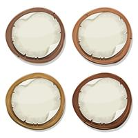 Torn Paper Signs On Wood Circles