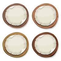 Signos de papel rasgado en círculos de madera