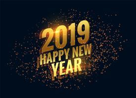 geweldige 2019 gelukkig nieuw jaar fonkelt gouden achtergrond