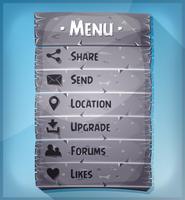 Elemento UI e iconos de datos en el panel de piedra
