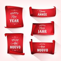 Happy New Year In Multilanguage On Red Parchments