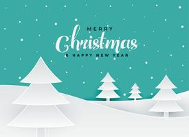merry christmas papercut style tree landscape background