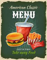 Poster retro do menu do hamburguer do fast food