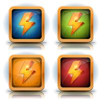 Shield Icons With Lightning Bolts For Game Ui vector