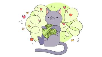 Gato desordenado vector