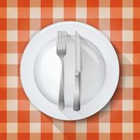 Dishware Setting On Tablecloth Background