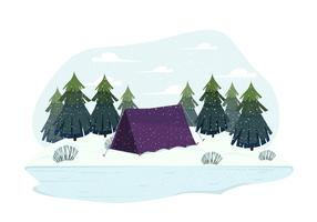 Vetorial, inverno, paisagem, ilustração
