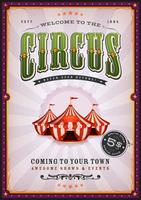 Cartel de circo vintage con rayos de sol
