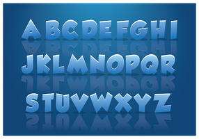 Icy Alphabets With Blue Background