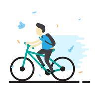 Illustrazione di vettore della bicicletta di guida dell'adolescente