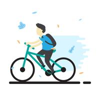 Teenager Riding Bicycle Vector Illustration