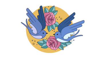Swallows In Love Vector