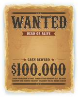 Cartaz de procurado no fundo de papel Vintage