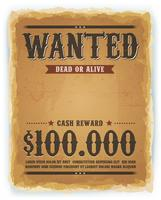 Wanted Poster On Vintage Paper Background